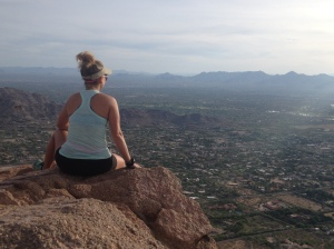 Overlooking Phoenix at the top of Camel Back Mountain.