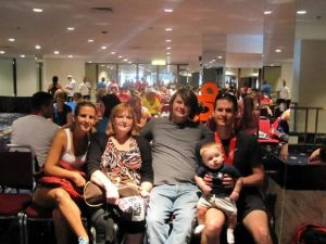 "Aaron's ""after"" picture with the family after completing the 2011 Chicago Marathon."
